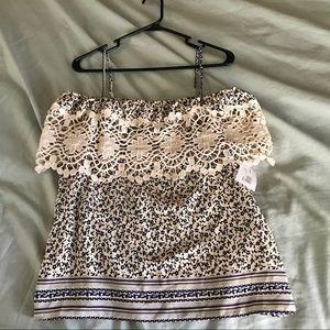 a120107f5cda3 Floral off the shoulder crochet blouse